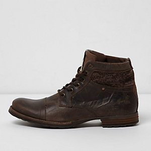 Brown mixed texture leather boots