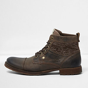 Brown leather knit panel work boots