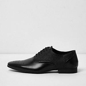 Black textured brogues
