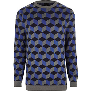 Blue geo crew neck sweater
