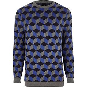 Blauwe pullover met ronde hals met geoprint