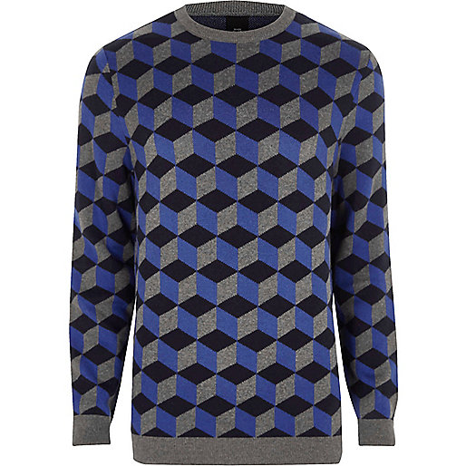 Blue geo crew neck sweater