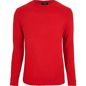 Roter, strukturierter Pullover mit Rundhalsausschnitt