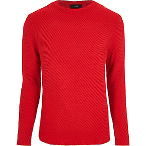 Red textured knit crew neck sweater