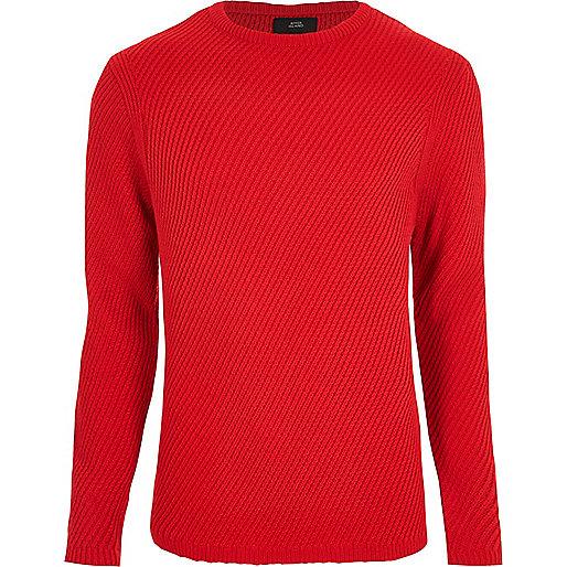 Red textured knit crew neck jumper