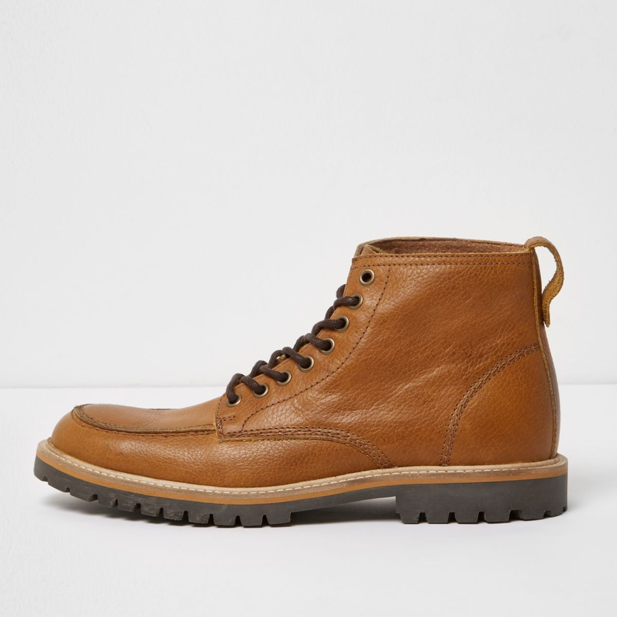 Light brown apron toe leather boots