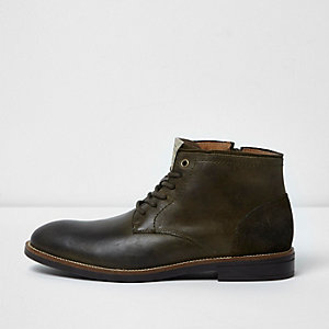 Khaki leather boots