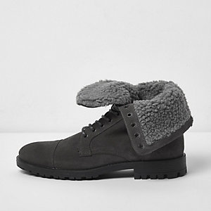 Grey borg lined suede work boots