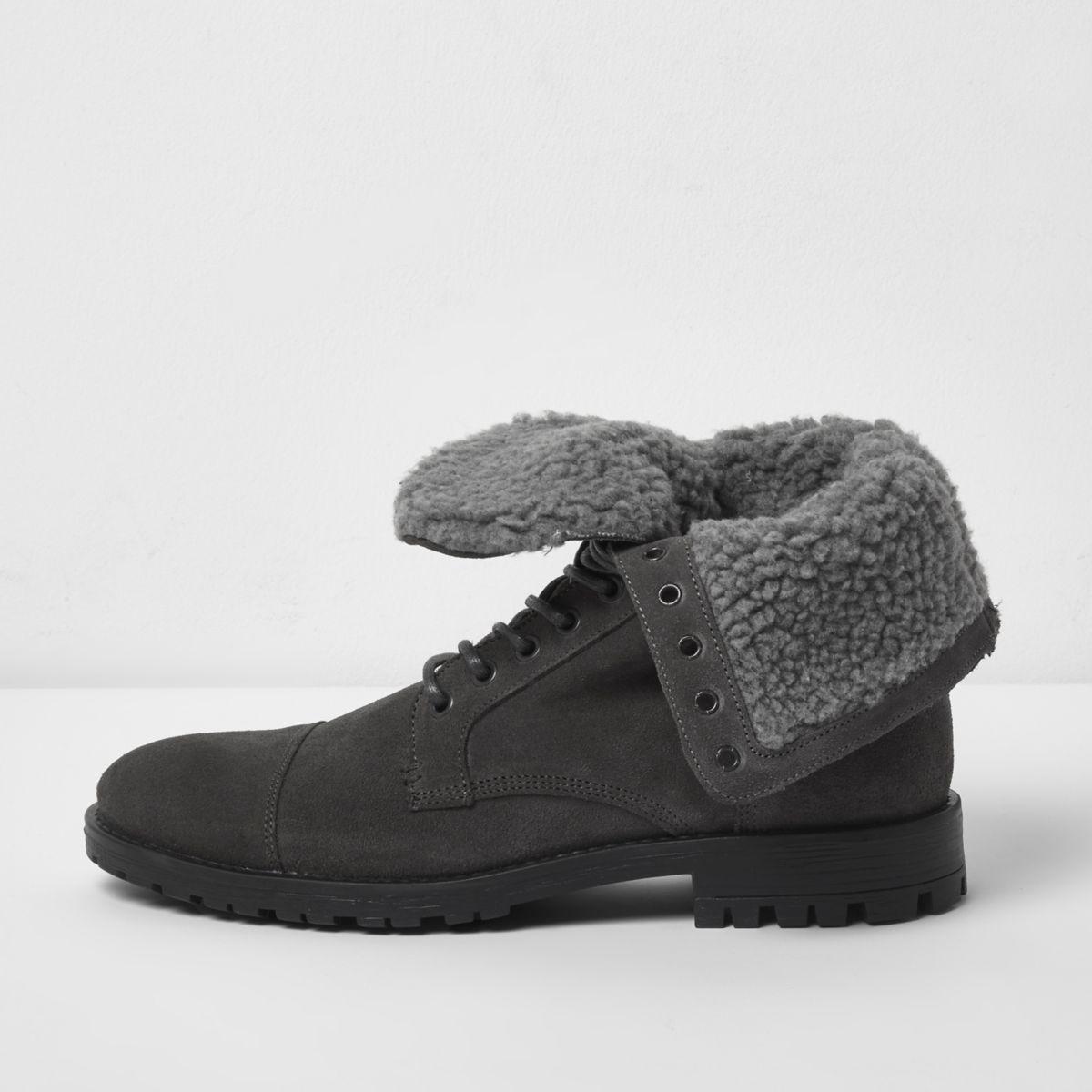 Grey fleece lined suede work boots