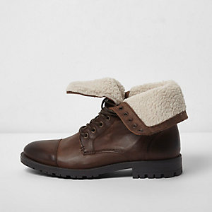 Brown fleece lined leather work boots