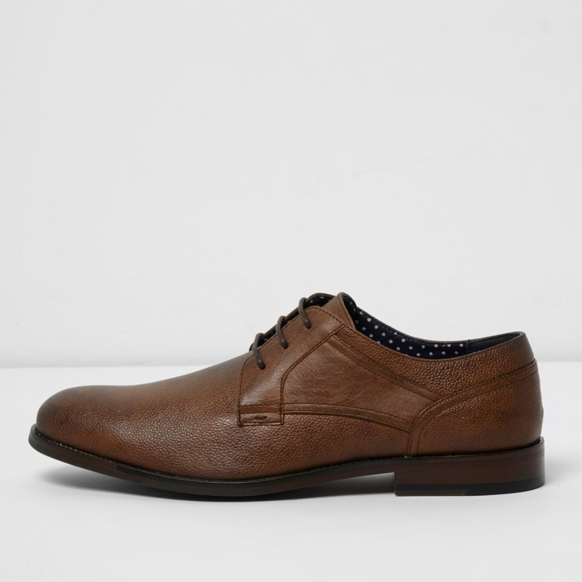Tan brown round toe lace-up smart shoes