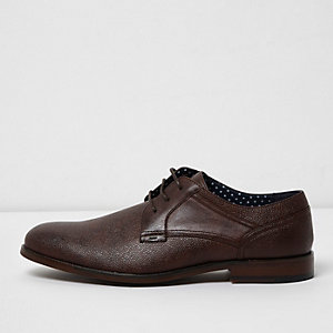 Dark brown round toe lace-up smart shoes