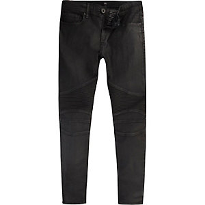 Danny – Schwarze Super Skinny Jeans im Biker-Look