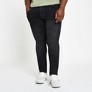 Big & Tall – Sid – Schwarze Skinny Jeans
