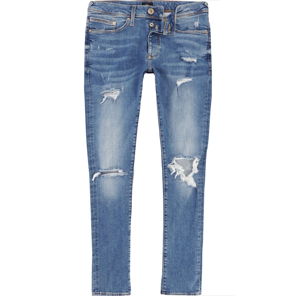 Danny - Middenblauwe ripped superskinny jeans