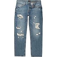 Big & Tall – Mittelblaue Loose Fit Jeans im Used-Look