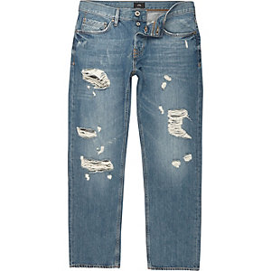 Big and Tall - Middenblauwe gescheurde ruimvallende jeans