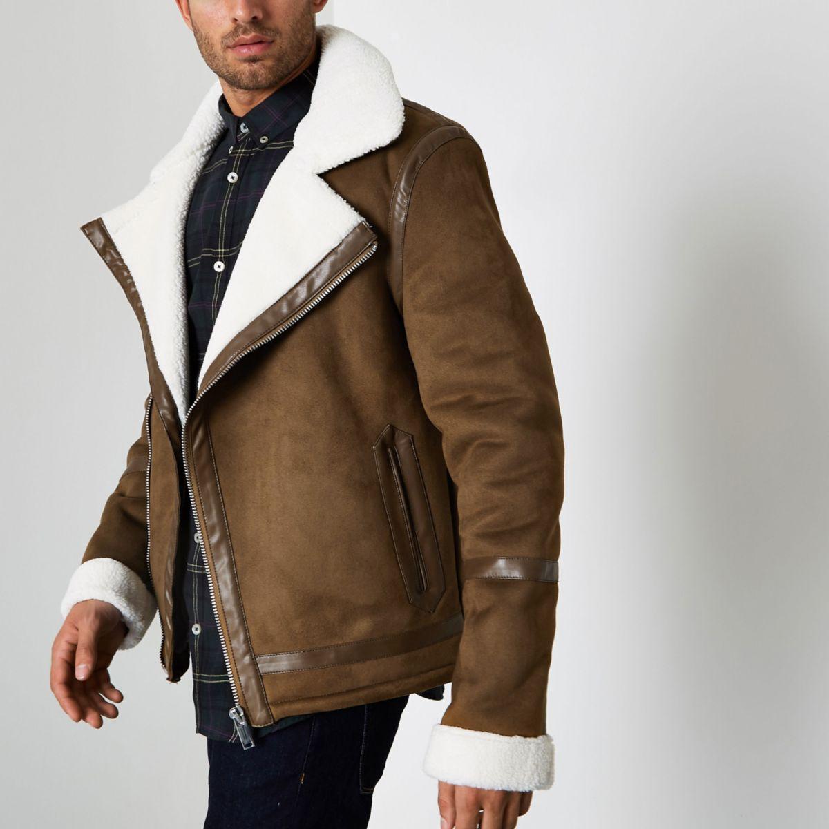 Brown faux suede borg collar biker jacket