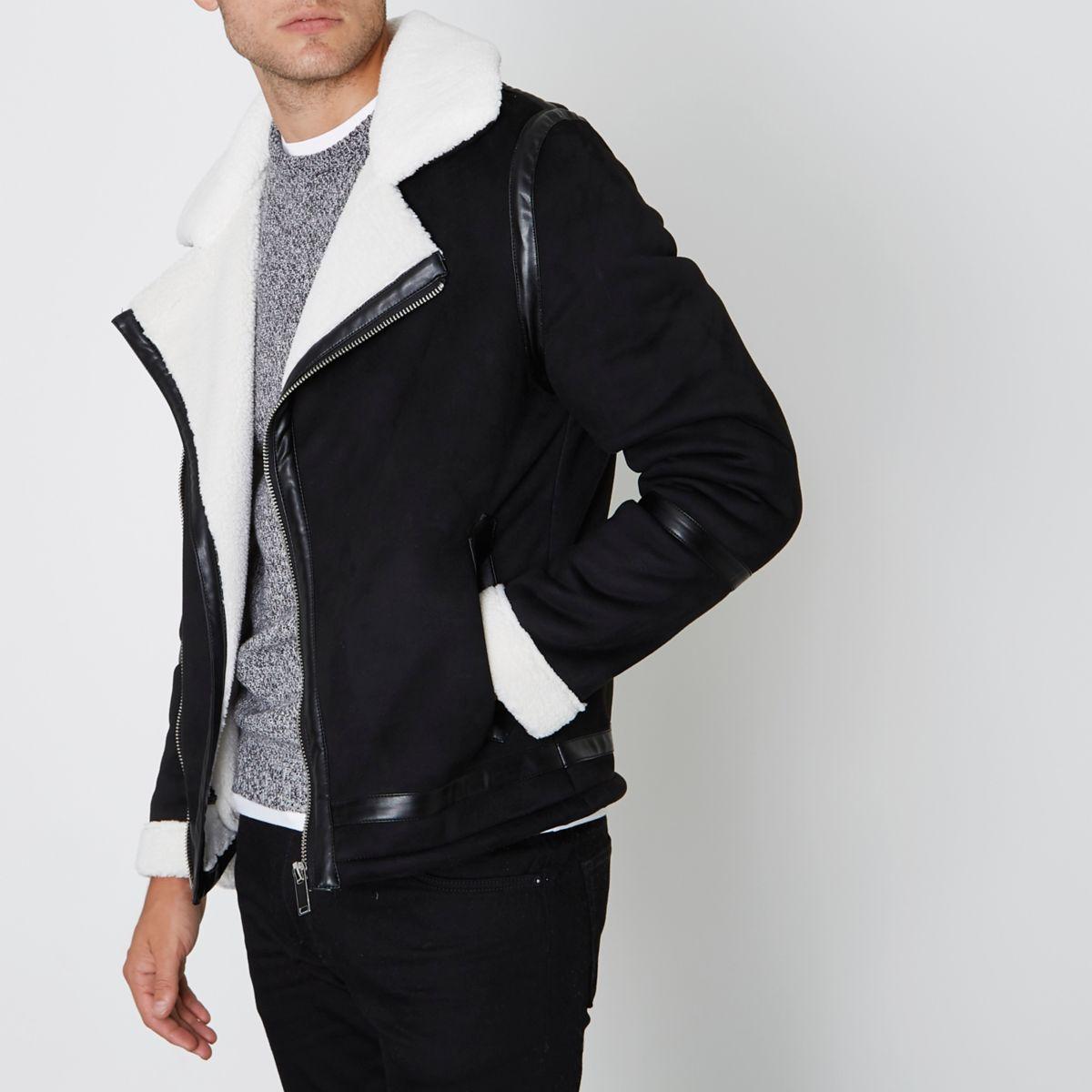 Black faux suede fleece collar biker jacket