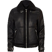 Black faux shearling aviator jacket