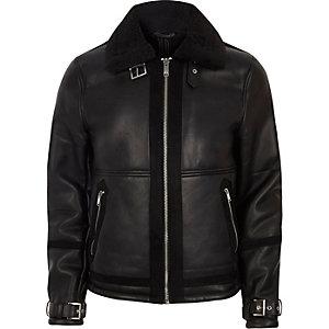 Black faux shearling aviator jacket