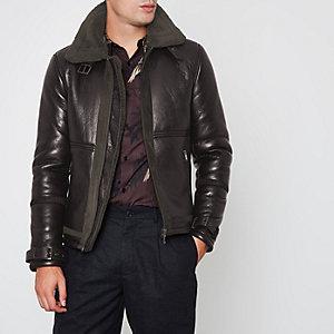 Dark brown faux shearling aviator jacket