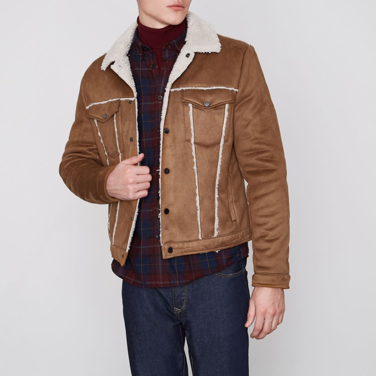Tan brown fleece collar harrington jacket