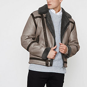 Grey faux shearling oversized biker jacket