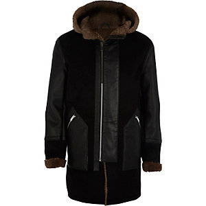 Black faux suede fleece lined parka