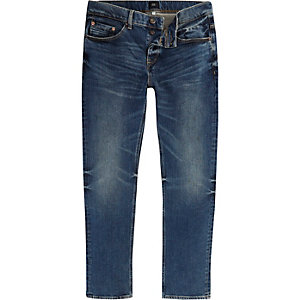 Dean - Donkerblauwe vervaagde jeans met rechte pijpen