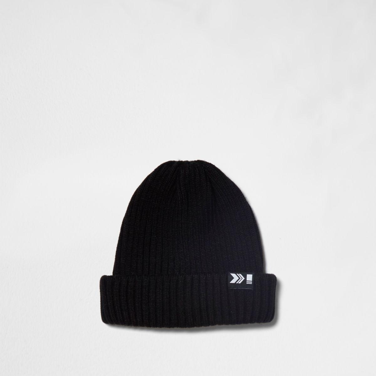 Bonnet de pêcheur en maille côtelée noir