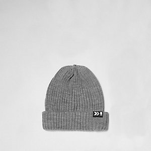 Grey ribbed fisherman beanie hat