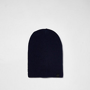 Bonnet large en maille bleu marine