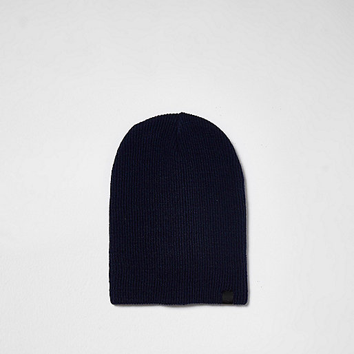 Navy knit slouch beanie hat