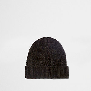 Brown fisherman knit beanie hat