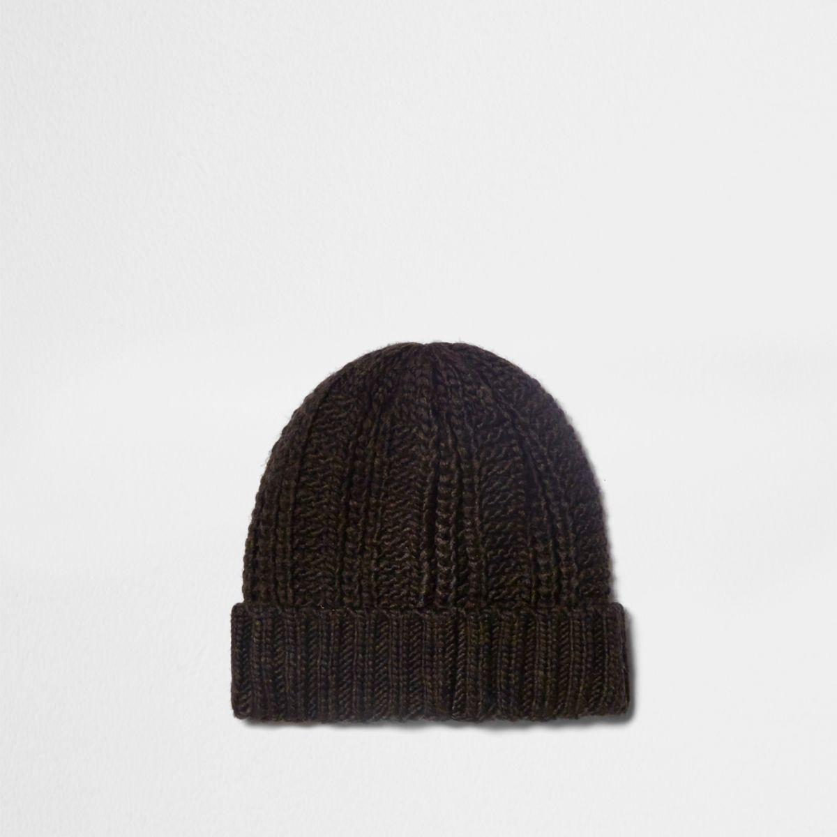 Brown fisherman knit beanie hat