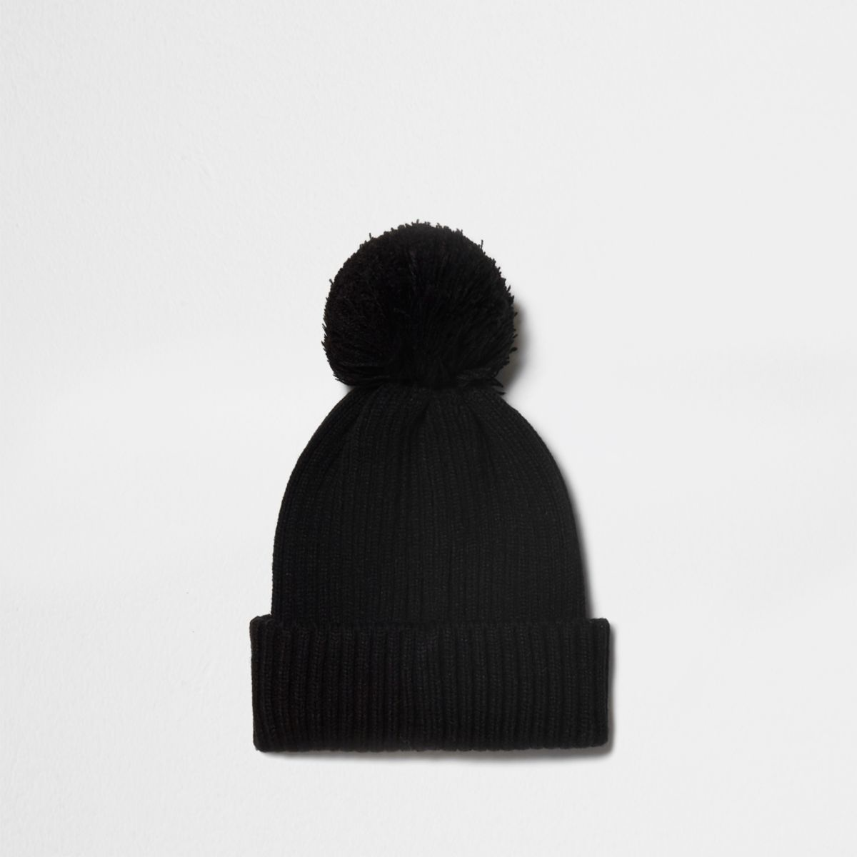 Black ribbed knit bobble beanie hat