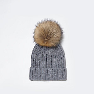 Grey faux fur bobble beanie hat