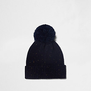 Navy ribbed knit bobble beanie hat