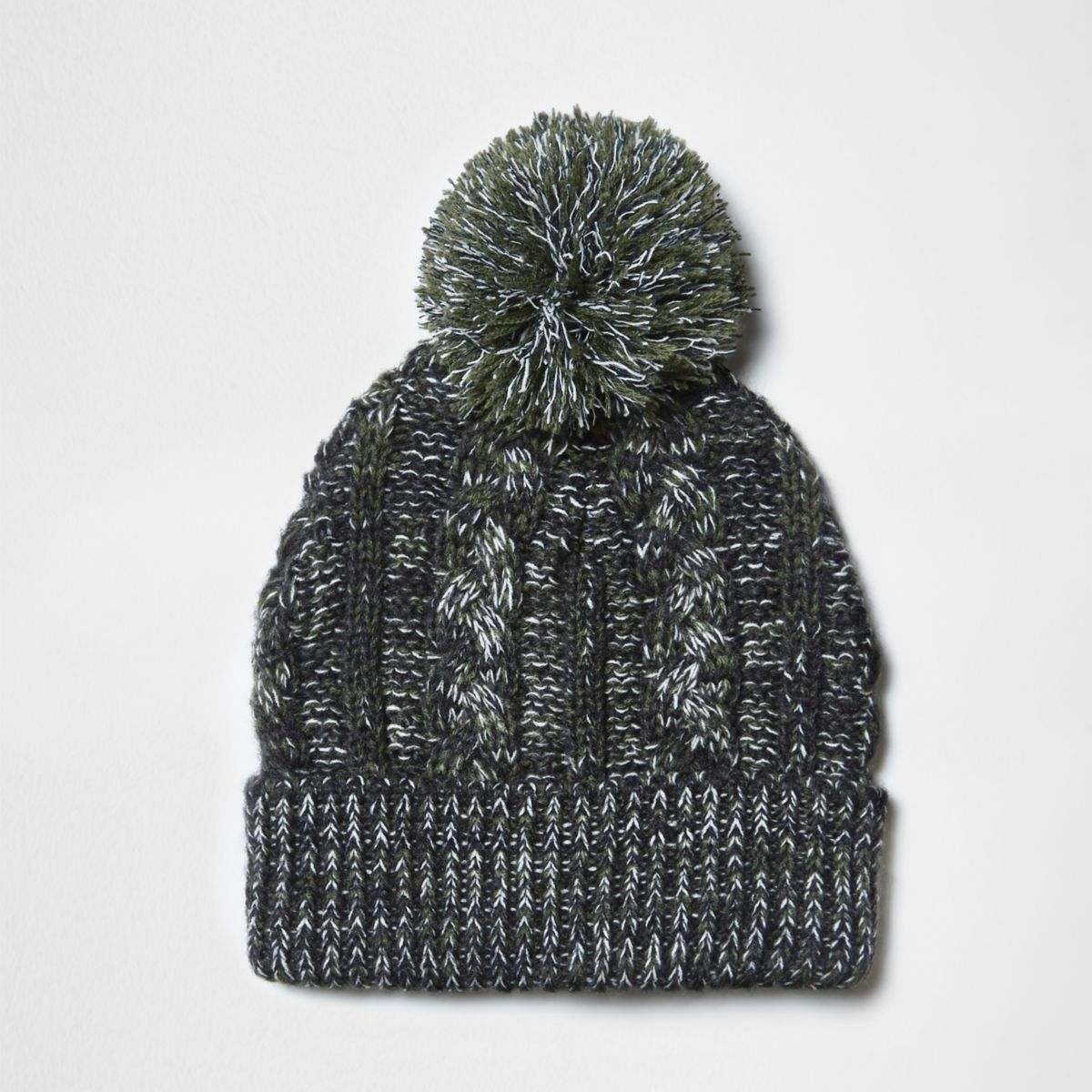 Green cable knit pom pom beanie hat