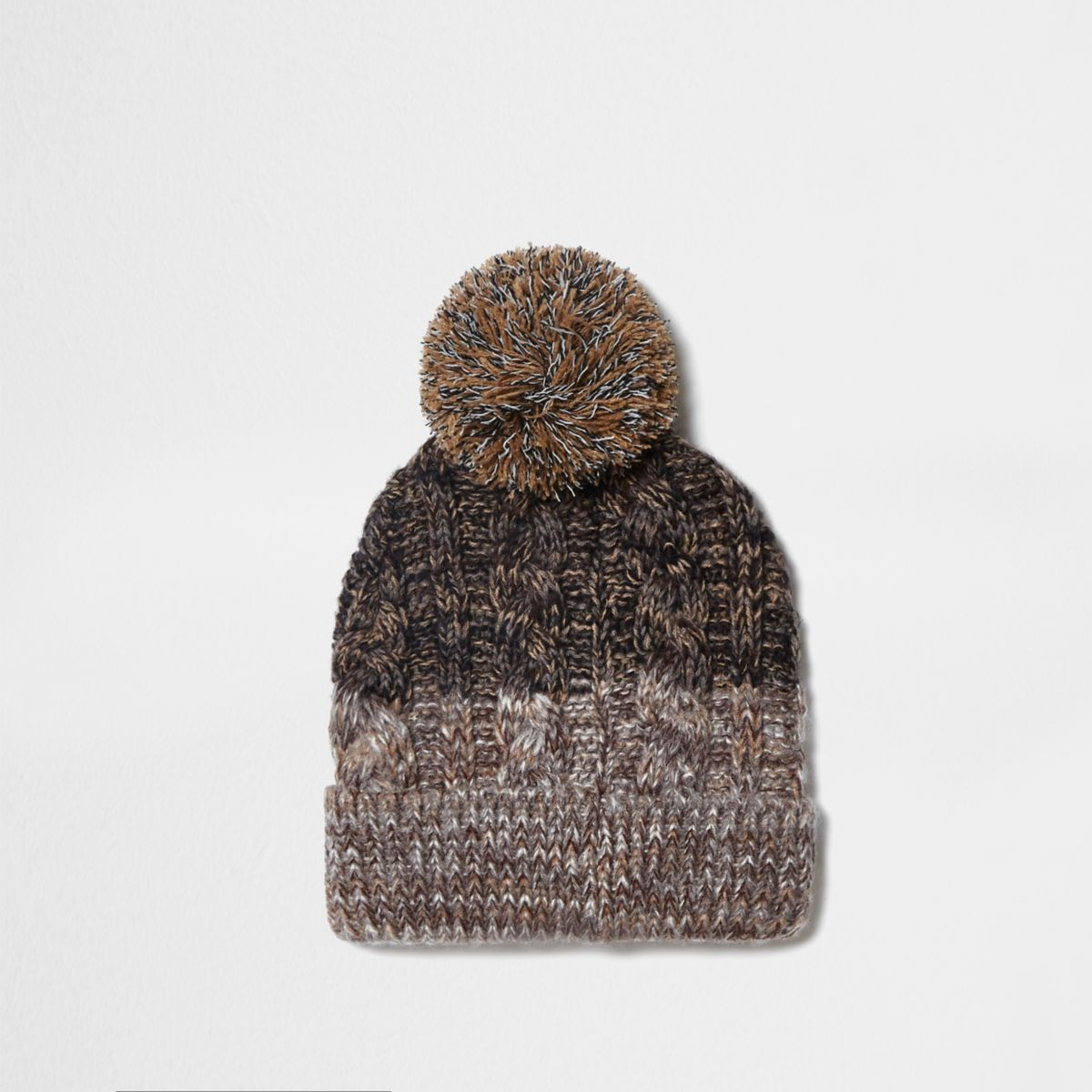 Light brown cable knit bobble beanie hat