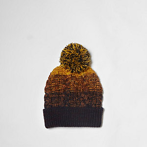 Yellow ombre cable knit bobble beanie hat