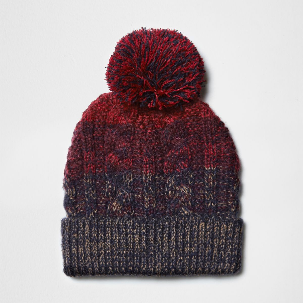 Red and navy cable knit pom pom beanie hat