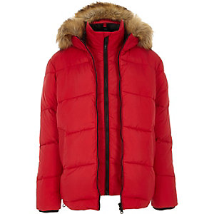 Red double zip front hooded puffer jacket