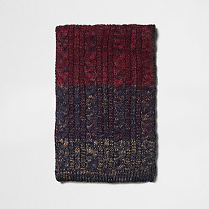 Red cable knit ombre knit scarf