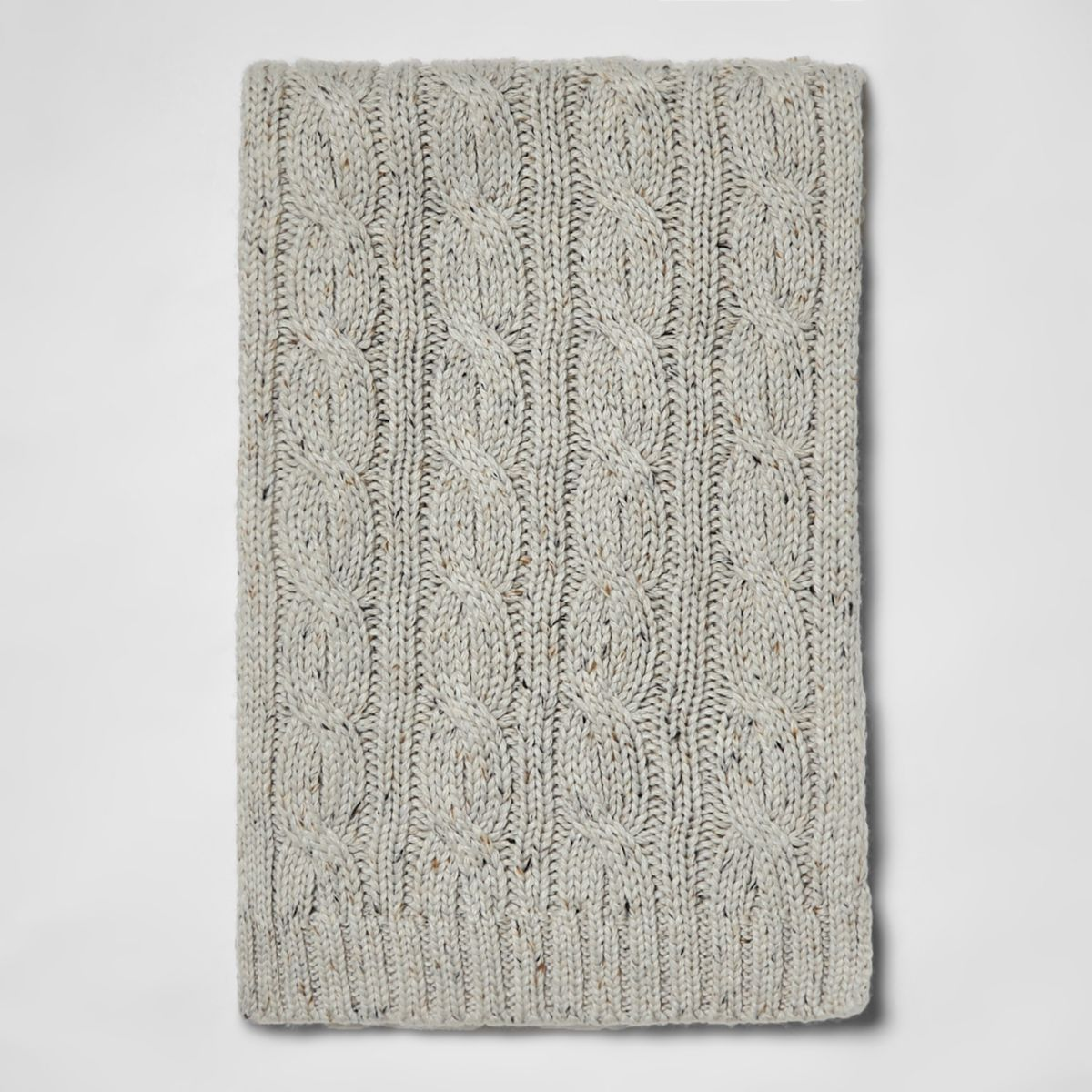 Grey neppy cable knit scarf
