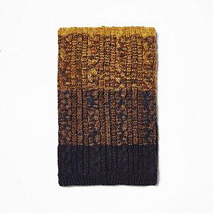 Mosterdgele gebreide ombré sjaal met kabels