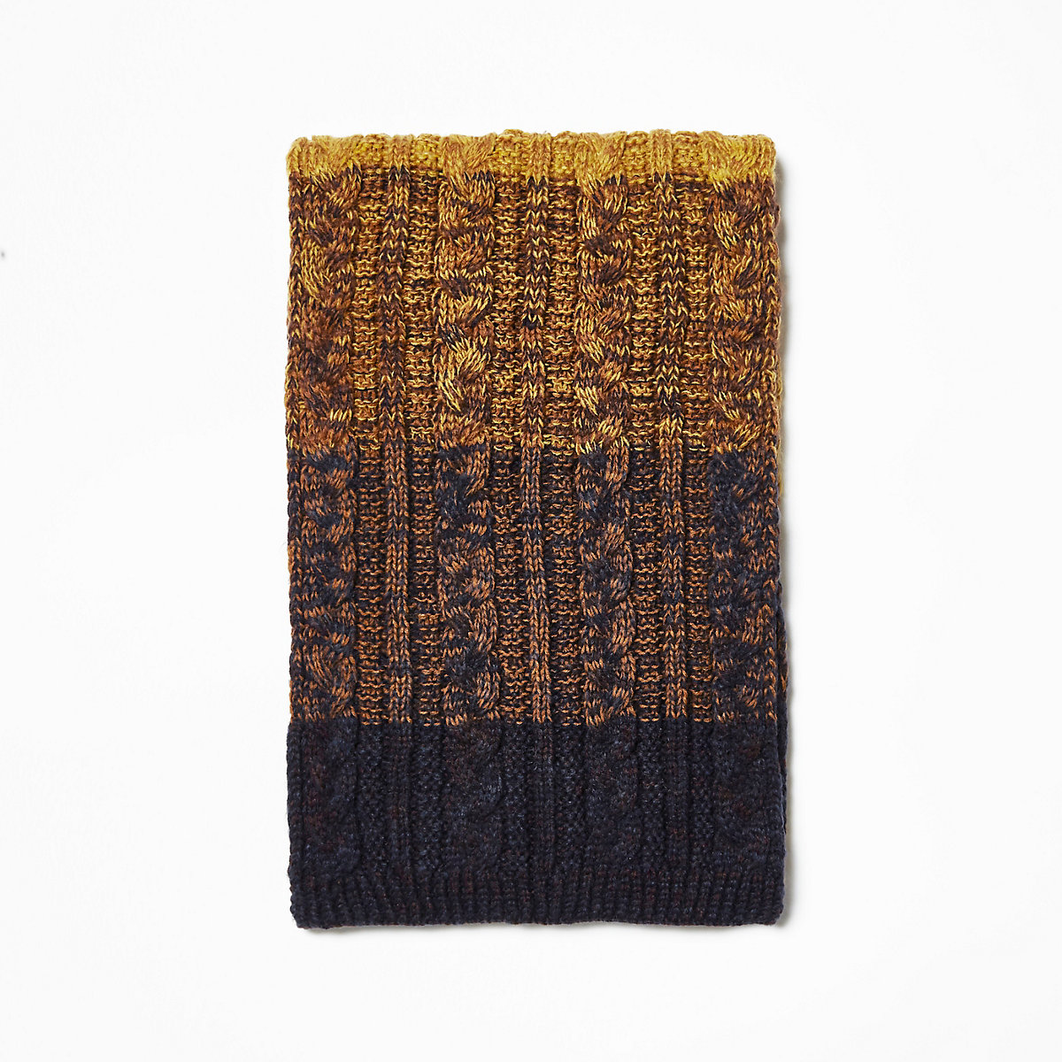 Mustard yellow ombre cable knit scarf