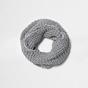 Écharpe-tube en maille grise texturée