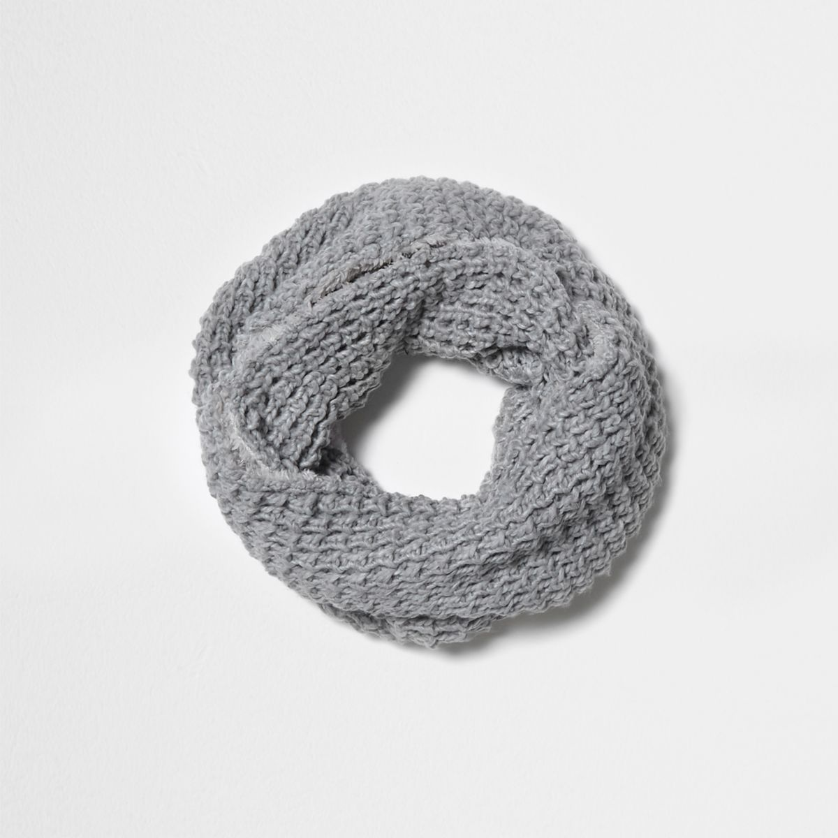 Grey textured knit snood
